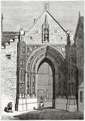 Old grayscale illustration. Front view of a gothic cathedral stone door. Erpingham Gate, Norwich Cathedral, United Kingdom. Created by Clarke and Jackson, published on the Penny Magazine, London, 183