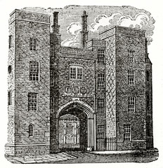 Old illustration of a imponent building made by bricks. Lincoln's Inn Gateway in Chancery lane, London. By unidentified author, published on the Penny Magazine, London, 1835