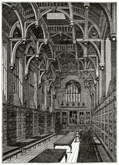 Old grayscale illustration. Hall of Middle Temple Inn of Court (professional association in London). By unidentified author, published on the Penny Magazine, London, 1835