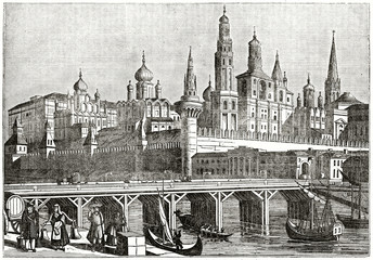 Old grayscale illustration. View on Moskvoretsky bridge and the Kremlin in background, Moscow. By unidentified author, published on the Penny Magazine, London, 1835