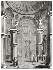 Old illustration. Vertical composition of Grand Mosque of Sultan Achmet interior in Constantinople. Created by Jackson, published on  Penny Magazine, London, 1835
