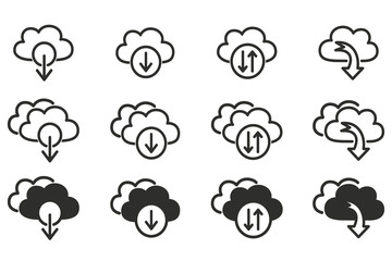 Cloud download icon set.