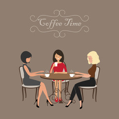 Coffee time. Three girls in the cafe. There are women, sitting at the table and drinking coffee on a brown background in the picture. Vector flat illustration.