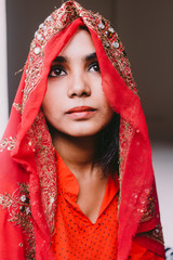 beautiful south asian bride in red