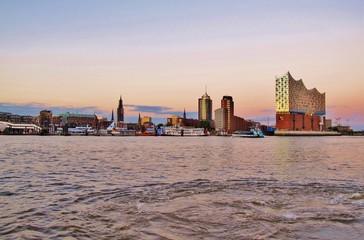 Hamburg, Hamburger Hafen, Abendstimmung