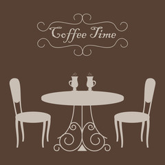 """Beige shapes of coffee table and two chairs on a brown background. There are also cups of coffee and text """"Coffee time"""" in the picture. Vector illustration."""