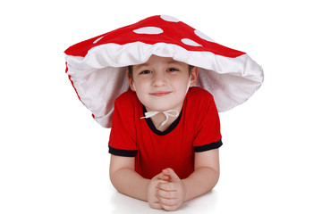 The boy in the costume of the mushroom on white background