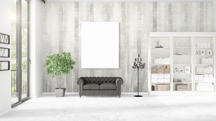 Panoramic view in modern loft interior with vertical empty frame and copyspace in horizontal arrangement. 3D rendering.