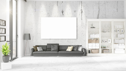 Interior with panoramic view, black leather ottoman and empty frame, copyspace in horizontal arrangement. 3D rendering.