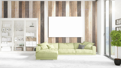 Loft interior with panoramic view, green plush divan, empty frame and copyspace in horizontal arrangement. 3D rendering.