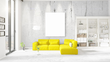 Modern interior in vogue with yellow couch, vertical empty frame and copyspace in horizontal arrangement. 3D rendering.