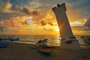 Wall Mural - Puerto Morelos sunset bent lighthouse Mexico