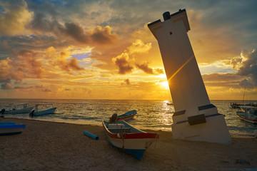 Fototapete - Puerto Morelos sunset bent lighthouse Mexico