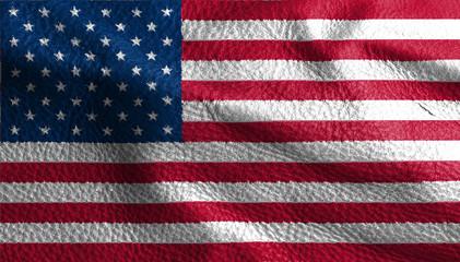United states leather flag background , USA printed leather fabric flag.