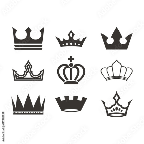 quotcrown logo design set silhouettequot stock image and royalty