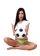 woman and football
