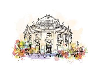 Watercolor sketch with splash of Berlin, Germany Museum Island in vector illustration.