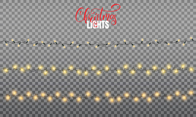 Christmas lights. Realistic decoration design elements for Xmas. Three types of glowing lights for winter holidays. Shiny garlands for Christmas and New Year