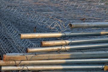 Concrete blocks and steel rebar