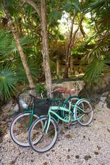 Fototapete - Tulum bicycles in Riviera Maya jungle