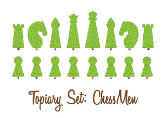 Topiary set of all chessmen shapes of bushes and trees: king, queen, pawn, bishop, rook, knight