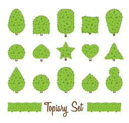 Topiary set. Different basic shape of bushes, trees. Green multiform shrubs.
