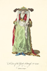 Greek queen in traditional dresses in 1749. Long coat, green tunic, bonnet with scarfs and feathers. Old watercolor illustration By J.M. Vien, T. Jefferys, London, 1757-1772