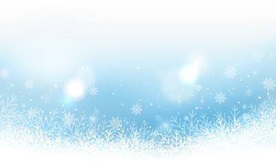 Winter landscape vector banner with snowflakes and glitter.