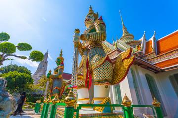 Guardian Giant in  Wat Arun the Temple of Dawn in Bangkok, Thailand