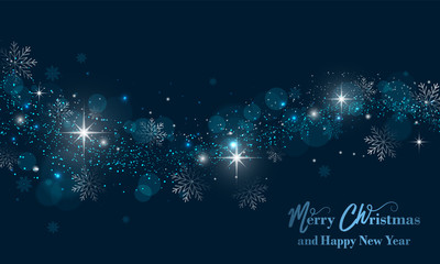 Merry Christmas and Happy New Year banner with stars, glitter and snowflakes. Vector background.