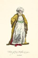 Emir pasha in traditional dresses in 1749. Gold coat, white tunic, turban, beard. Old illustration by J.M. Vien, publ. T. Jefferys, London, 1757-1772