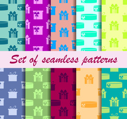 Gift boxes set of seamless patterns. Vector illustration