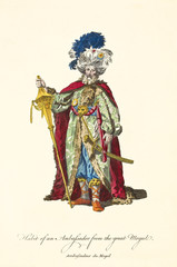 Ambassador of the Great Mogul posing in traditional dresses. Rich turban with feathers and jewlers, gold sword and stick, red mantle. Old illustration by J.M. Vien, on T. Jefferys, London, 1757-1772