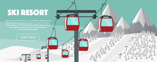Ski resort, lift flat vector illustration. Alps, fir trees, mountains wide panoramic background. Aerial ropeways, hills, winter web banner design.