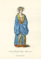 Chinese Lady in traditional dresses in 1700. Rich clothes and hat gold decorated. Old illustration by J.M. Vien, publ. T. Jefferys, London, 1757-1772