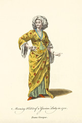 Grecian Lady in traditional morning dresses in 1700. Yellow long dress and white big turban. Old illustratiion by J.M. Vien, publ. T. Jefferys, London, 1757-1772