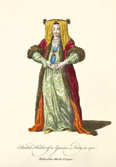 Grecian Lady in traditional wedding colorful dress in 1700. Old illustratiion by J.M. Vien
