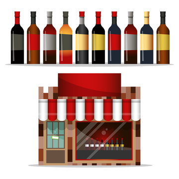 Front facade of a liquor store with a large shop window. A set of bottles of wine. Vector illustration.