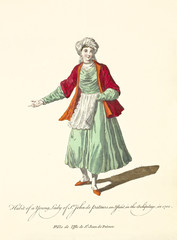 Patmos Lady in traditional dresses in 1700. Red jacket and white turban. Old illustration by J.M. Vien, publ. T. Jefferys, London, 1757-1772