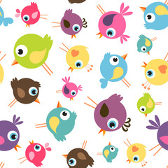seamless pattern with funny birds