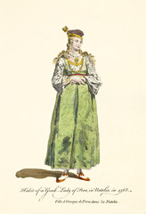 Constantinople Lady in traditional rich dresses and jewles in 1568. Old illustration by J.M. Vien, publ. T. Jefferys, London, 1757-1772
