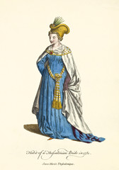Thessalonian Lady in traditional wedding dresses in 1581. Long blue dress and white mantle. Old illustration of by J.M. Vien, publ. T. Jefferys, London, 1757-1772