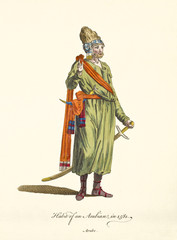 Arabian man in traditional dresses in 1581. Warrior clothes with sworld and dagger. Old illustratiion by J.M. Vien, publ. T. Jefferys, London, 1757-1772