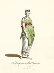 Arabian virgin in traditional dresses. Long white and green dress, turban and barefeet. Old illustratiion by J.M. Vien, publ. T. Jefferys, London, 1757-1772