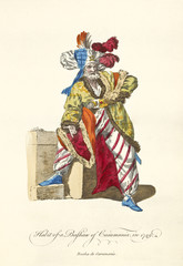 Caramania Pasha (South Anatolia) in traditional dresses in 1749. Long coat, striped white and red pants, big turban with feathers. Old illustration by J.M. Vien, publ. T. Jefferys, London, 1757-1772