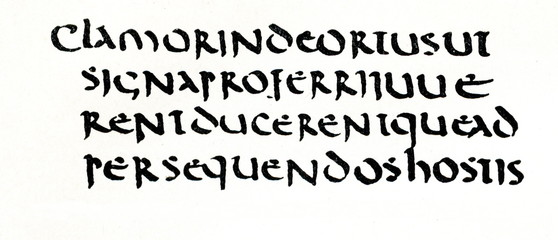 Uncial script, 6th century, text from Titus Livius (from Meyers Lexikon, 1896, 13/420/421)