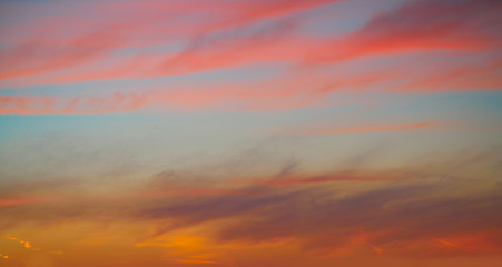 sunset sky clouds in red orange