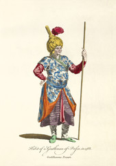 Old illustration of Persian Gentleman in traditional dresses in 1568. He keeps a long stick on his left hand. By J.M. Vien, publ. T. Jefferys, London, 1757-1772