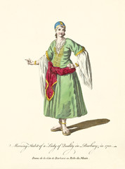 Old illustration of Berber woman in traditional dresses in 1700. Ancient elements like long skirt, gold decoration, sandals and large sleeves.  By J.M. Vien, publ. T. Jefferys, London, 1757-1772
