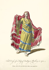 Old illustration of Berber women in traditional dresses in 1700. Ancient elements like tunic, long cloak and sandals. By J.M. Vien, publ. T. Jefferys, London, 1757-1772